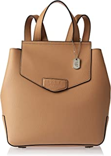 DKNY R83K8819 Flap Backpack for Women - Leather, Brown