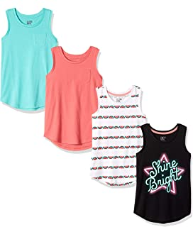 Amazon Brand - Spotted Zebra Girls' Toddler & Kids 4-Pack Sleeveless Tank Tops