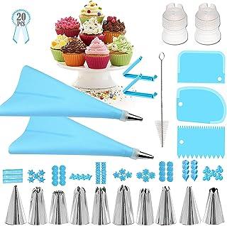 ست کیف و نکات لوله کشی Geioireny ، ابزار کیت تزیین کیک 20 عددی برای مبتدیان ، نکات مزه دار ، کیسه شیرینی ، همتراز نازل لوله کشی برای وسایل پخت (20 عدد ، آبی)