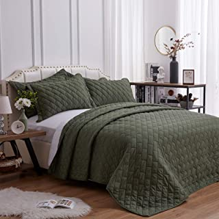 SunStyle Home Quilt Set Full/Queen Size Olive Green 3 Piece, Ultra Soft Lightweight Luxurious Microfiber Coverlet Modern S...