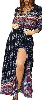 Women's Summer Button Up Floral Print Split Beach Maxi Dresses