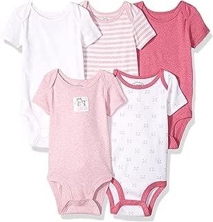 Organic Baby Baby Pure Organic Cotton Girls Shortsleeve Bodysuits, 5 Pack