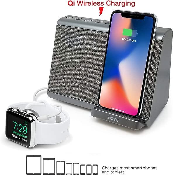 IHome IBTW39 蓝牙双闹钟,带无线充电扬声器电话和 USB 充电端口