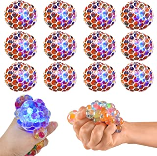 K.E.J. Squish Stress Ball 12 Pack LED Mesh Anti-Stress Ball Toys Squeeze Ball Fun for Boys Girls and Adults Easter Gift - ...