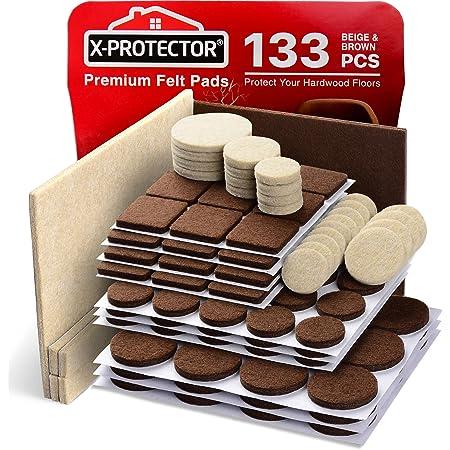 X-Protector - Juego de almohadillas para muebles de 2 colores, 133 unidades, almohadillas de fieltro para muebles, 106 color marrón + 27 color beige, varios tamaños, los mejores protectores para suelo de madera Protege tus suelos de madera dura y laminado.