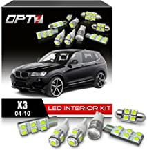 OPT7 16pc Interior LED Replacement Light Bulbs Package Set kit for 04-10 BMW X3 CanBus | 6000K White | Dome Map Courtesy License Plate and More!