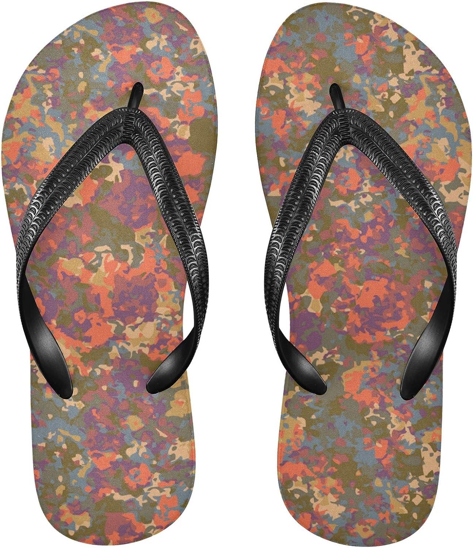 Nander Colorful Camouflage Pattern Women's Sandal Flip Flops Soft Comfortable Beach Slippers Unisex Adult Durable Flip Flops Shower Shoes