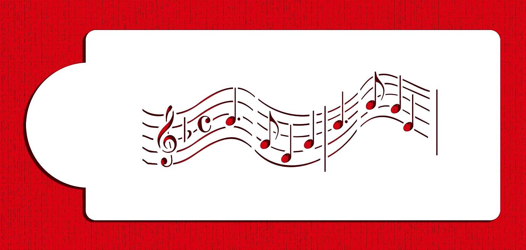 Designer Stencils C158t Musical Notes Cake Stencil Short Version Beige Semi Transparent