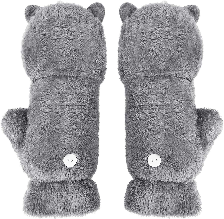 Cute Alpaca Fingerless Funny Faux Fur Cozy Mitten Gloves Hand Warmer Xmas Gift