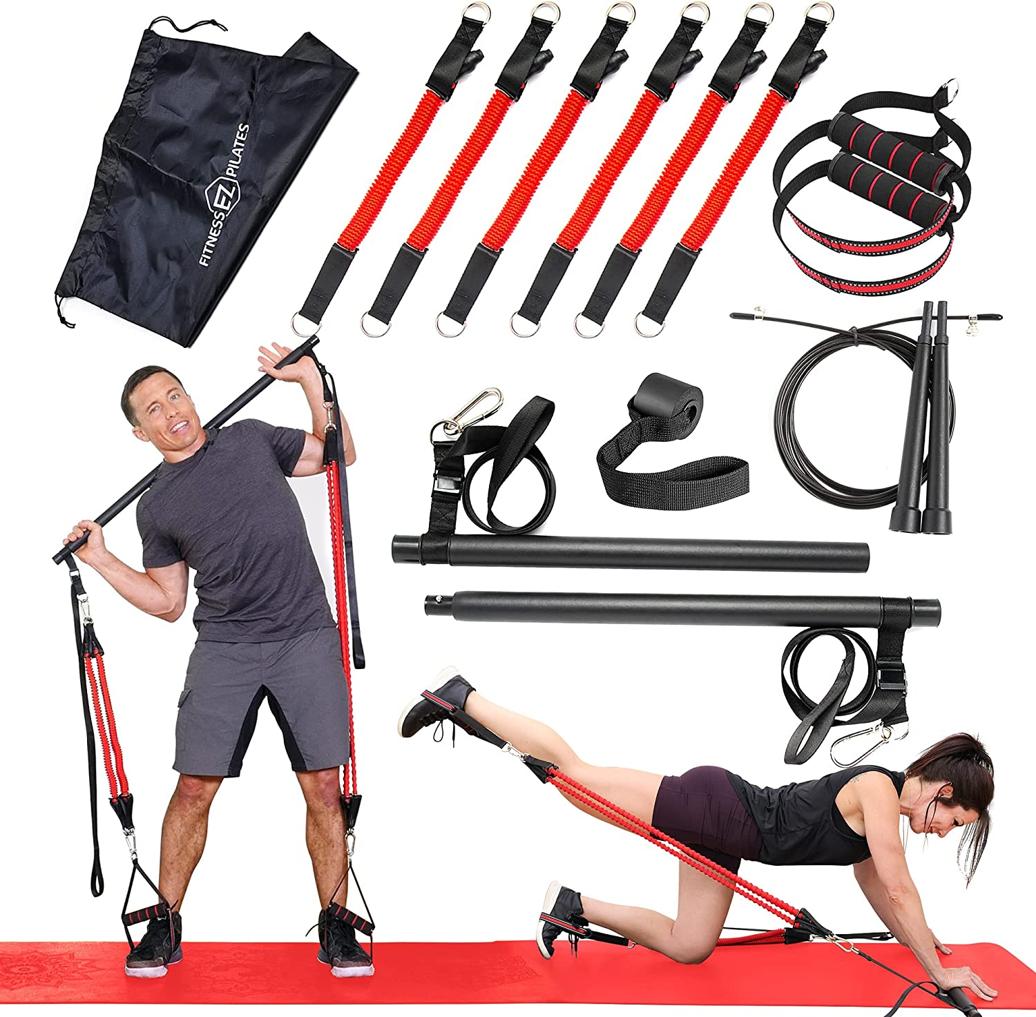 FitnessEZ Pilates Bar Kit with Resistance Bands - Portable Home Gym Workout Set - 6 Exercise Bands, Pilates Stick, Door Anchor for Toning, Sculpting, Strength Training and Video