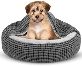 Siwa Mary Dog Bed with Attached Blanket for Small Dogs or Cats, Soft Plush Cozy Donut Cuddler Hooded Pet Beds Washable. Ro...