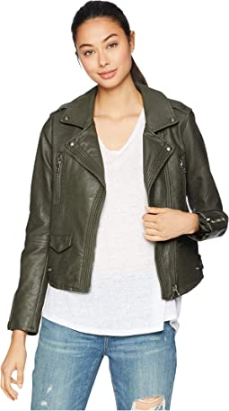 Vegan Leather Moto Jacket in Marry Jane