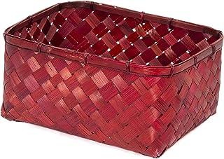 Compactor Home RAN7997 Panier, Bambou, Rouge, 30 x 23 x 15 cm
