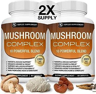 Sponsored Ad - Mushroom Supplement Lions Mane & Cordyceps Reishi Chaga – 10 Organic Mushroom Blend to Support Immune Syste...