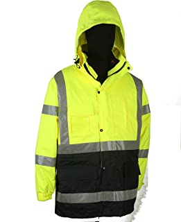 Safety Depot Two Tone Lime Yellow Black Reflective Class 3 Safety Parka Jacket Reversible Two Piece With Zipper and Pockets 360c-3 (3XL)