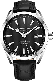 Mens Watch Analog Dial with Date - Calfskin Leather Strap or Stainless Steel Bracelet, 3953 Watches for Men Collection