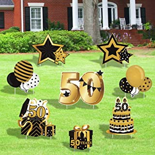 Huray Rayho 50th Birthday Yard Sign Cutouts with Stakes Happy Birthday Yard Signs Lawn Outdoor Black Gold Decorations for ...