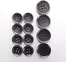 水牛調 黒色系組み合わせボタン スーツ1着分セット 20mm:4個入 15mm:8個入 4穴 ジャケット 上着 カーディガン FSR771K-15-BK-705 FSR771K-20-BK-706