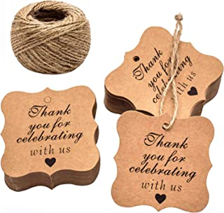 Paper Gift Tags Thank You for Celebrating with Us, Whaline 100 Pcs Paper Hang Tag for Thanksgiving Day Wedding Party Favors, Baby Shower with 100 Feet Natural Jute Twine (Heart Brown)