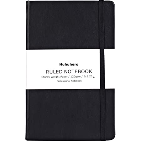 """Huhuhero Notebook Journal, Classic Ruled Hard Cover, 120Gsm Premium Thick Paper with Fine Inner Pocket, Black Faux Leather for Journaling Writing Note Taking Diary and Planner, 5""""×8.25"""" (1)"""