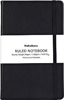 مجله نوت بوک Huhuhero، جلد کلاسیک رول دار، کاغذ پرینت ضخیم با جیب کوچک داخلی، چرم سیاه فاکس برای روزنامه نگاری نوشتن یادداشت با استفاده از دفترچه خاطرات و برنامه ریز، 5 × 8.3 (1)