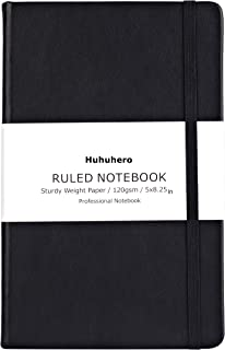 "Huhuhero Notebook Journal, Classic Ruled Hard Cover, Premium Thick Paper with Fine Inner Pocket, Black Faux Leather for Journaling Writing Note Taking Diary and Planner, 5""×8.3"" (1)"