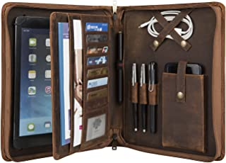 Vintage Crazy-Horse Leather Portfolio for 9.7/10.5/11 inch iPad/iPad Pro/iPad Air, Handmade Padfolio with A5 Size Notepad Holder, Business Carrying Case for Men & Women