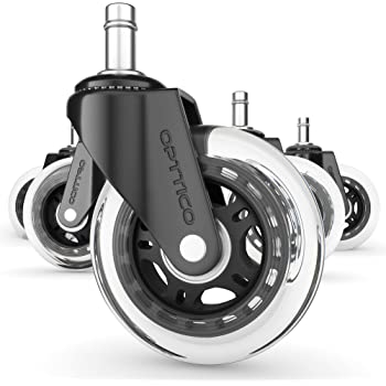 OPTTICO Office Chair Casters Wheels Replacement - Computer Chair MAT for Hardwood Floors Not Needed, Desk Rollerblade Chair Wheels with Soft Rubber Rollers. Best Chair Casters for Wood Floors