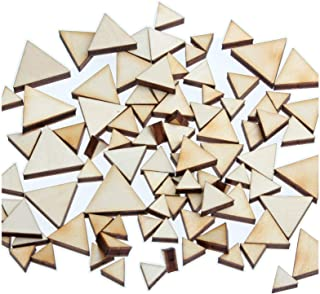 yuhoshop: 100 pcs [Triangle Shaped] Mini Mixed Small Tiny Wooden Embellishments - Scrapbooking Shapes for Craft Decor Button