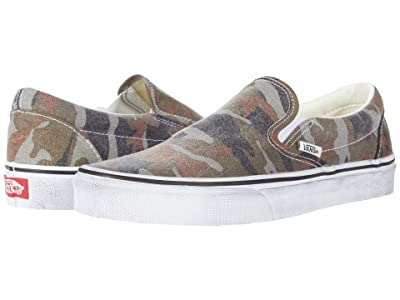 Vans Classic Slip-Ontm ((Washed) Camo/True White) Skate Shoes