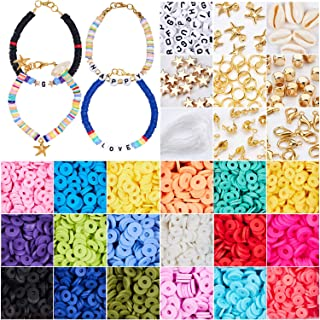3800 Pcs Flat Round Polymer Clay Spacer Beads for Jewelry Making Bracelets Necklace Earring DIY Craft Kit with Pendant and...