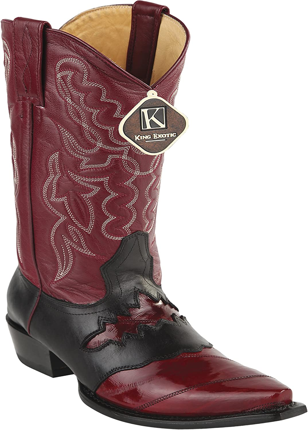 Women's Snip Toe Genuine Leather Sadded EEL Skin Western Boots