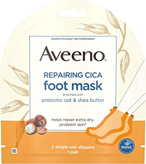 Aveeno Repairing CICA Foot Mask with Prebiotic Oat and Shea Butter, Moisturizing Foot Mask for Extra Dry Skin, 1 Pair of Single-Use Slippers (Pack of 5)
