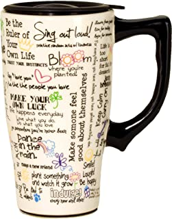 Spoontiques 12095 Positive Affirmations Ceramic Travel Mug, 5.2 x 3.5 x 6.4 inches, White