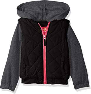 Pink Platinum Baby Girls' Toddler Vest with Fleece Hood and Sleeves