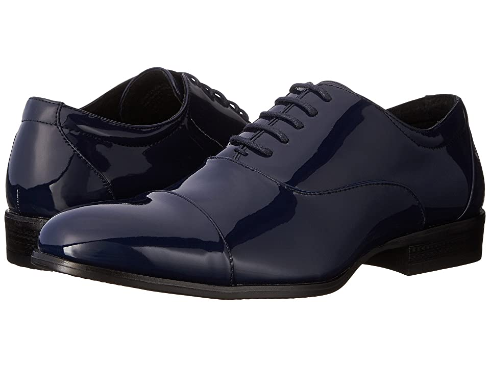 Mens Vintage Style Shoes| Retro Classic Shoes Stacy Adams Gala Navy Patent Mens Lace Up Cap Toe Shoes $65.00 AT vintagedancer.com