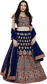 Aayan Export Women's Synthetic Semi-stitched Lehenga Choli With Dupatta (Blue_Free Size)