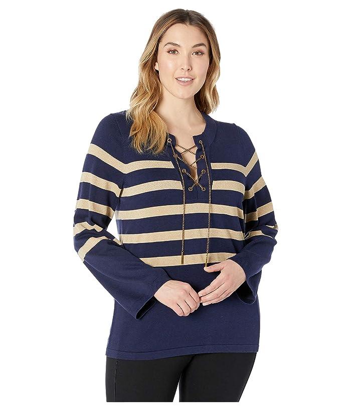 MICHAEL Michael Kors Plus Size Laced Chain Tunic Lurex (True Navy) Women