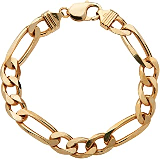 Men's 14K Yellow Gold over Sterling Silver Figaro Link...