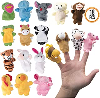 Prextex 18-Piece Plush Animal Finger Puppets for Story Telling - Easter Eggs Fillers - Schools for Kids of All Ages