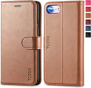 iPhone 8 Wallet Case, iPhone 7 Leather Case, TUCCH Folio Case with [Kickstand] [Card Slots] [Magnetic Closure] Flip Notebook Cover [TPU Shockproof Interior Protective Case] for iPhone 8/7, Brown