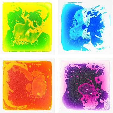 "Art3d Liquid Sensory Floor Decorative Tiles, 11.8""x11.8"" Square, Colorful, 4 Tiles"