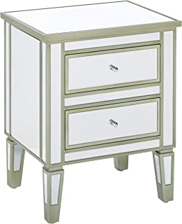 Christopher Knight Home Graham Nightstand Accent End Table with 2 Drawers for Living Rooms and Bedrooms, Mirror