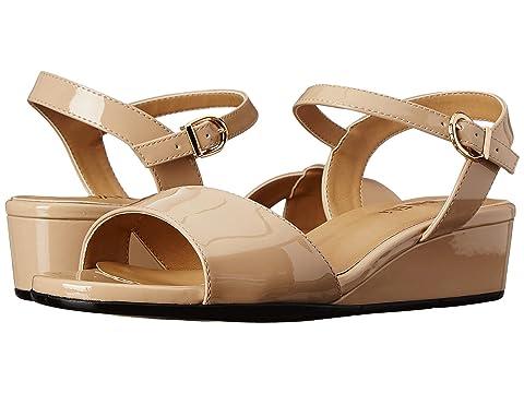Womens Sandals Vaneli Kiona Ecru Mag Patent/Gold Buckle