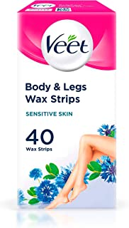 Veet Wax Strips for Sensitive Skin for Body and Legs, 20