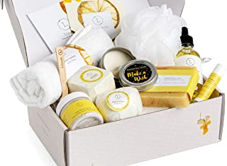 Spa Gift Set, Pampering Relaxing Box, Citrus Care Package for Women, Including 9 pc- Soap Bar, Facial Mask, Shower Streamer, Body Oil, Bath Bomb, Lip Balm, Towel, Soy Candle & Sponge by Lizush.