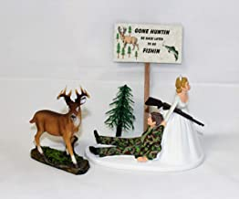Wedding Humorous Camo Redneck Deer Hunter Hunting Cake Topper