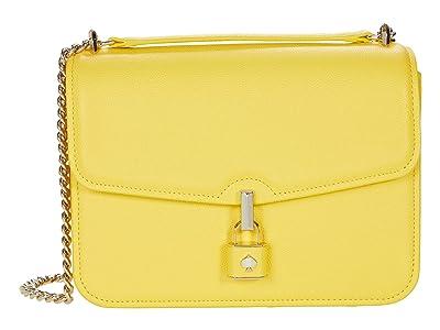 Kate Spade New York Locket Large Flap Shoulder Bag (Yellow Sesame) Handbags