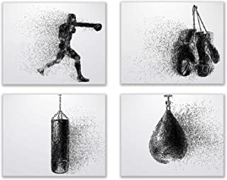 Summit Designs Boxing Wall Art Prints - Silhouette – Set of 4 (8x10) Poster Photos - Bedroom - Man Cave
