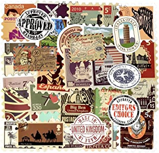 Vinyl Vintage Stamp Stickers Retro Travel Stickers 50 Pcs Suitcase Sticker Pack Decals for Suitcase Laptop Car Luggage Wat...